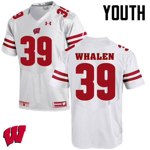 Youth Winsconsin Badgers #39 Jake Whalen College Football Jerseys-White